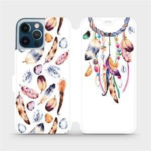 Flipové pouzdro Mobiwear na mobil Apple iPhone 12 Pro Max - M003S Lapač a barevná pírka