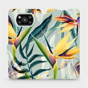 Flipové pouzdro Mobiwear na mobil Xiaomi Poco X3 Pro - MC02S Žluté velké květy a zelené listy