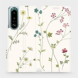 Flip pouzdro Mobiwear na mobil Sony Xperia 5 III - MD03S Tenké rostlinky s květy