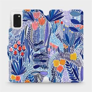Flip pouzdro Mobiwear na mobil Samsung Galaxy A41 - MP03P Modrá květena