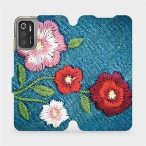 Flip pouzdro Mobiwear na mobil Xiaomi Poco M3 Pro 5G - MD05P Džínové květy
