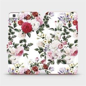 Flipové pouzdro Mobiwear na mobil Huawei P8 Lite - MD01S Růže na bílé