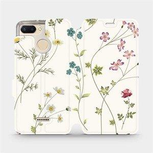 Flipové pouzdro Mobiwear na mobil Xiaomi Redmi 6 - MD03S Tenké rostlinky s květy
