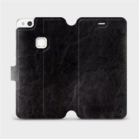 Parádní flip pouzdro Mobiwear na mobil Huawei P10 Lite v provedení C_BLP Black&Orange s oranžovým vnitřkem