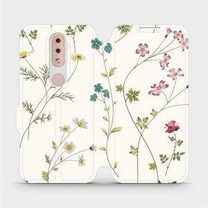 Flipové pouzdro Mobiwear na mobil Nokia 4.2 - MD03S Tenké rostlinky s květy