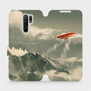 Flipové pouzdro Mobiwear na mobil Xiaomi Redmi 9 - MA03P Oranžové letadlo v horách