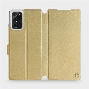 Flipové pouzdro Mobiwear na mobil Samsung Galaxy Note 20 v provedení C_GOP Gold&Orange s oranžovým vnitřkem