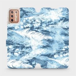 Flipové pouzdro Mobiwear na mobil Motorola Moto G9 Plus - M058S Světle modrá horizontální pírka