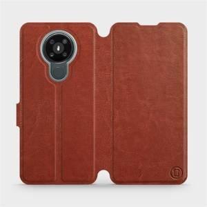 Flipové pouzdro Mobiwear na mobil Nokia 3.4 v provedení C_BRP Brown&Orange s oranžovým vnitřkem