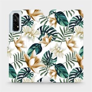 Flipové pouzdro Mobiwear na mobil Realme 7 - MC07P Zlatavé květy a zelené listy