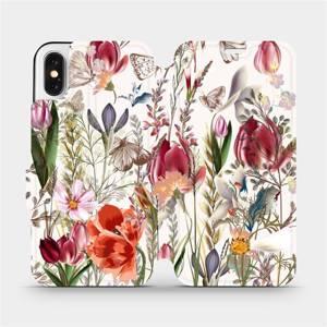 Flip pouzdro Mobiwear na mobil Apple iPhone X - MP01S Rozkvetlá louka