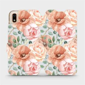Flip pouzdro Mobiwear na mobil Huawei Y5 2019 / Honor 8S - MP02S Pastelové květy