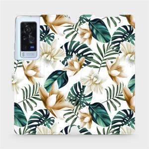 Flip pouzdro Mobiwear na mobil Vivo X60 Pro 5G - MC07P Zlatavé květy a zelené listy