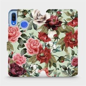 Flipové pouzdro Mobiwear na mobil Huawei Nova 3 - MD06P Růže a květy na světle zeleném pozadí