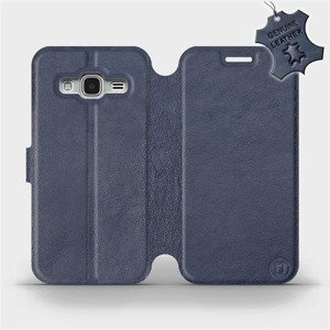 Luxusní flip pouzdro Mobiwear na mobil Samsung Galaxy J3 2016 - Modré - kožené -  L_NBS Blue Leather