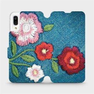 Flipové pouzdro Mobiwear na mobil Samsung Galaxy A40 - MD05P Džínové květy