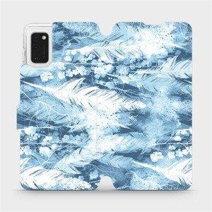 Flipové pouzdro Mobiwear na mobil Samsung Galaxy A41 - M058S Světle modrá horizontální pírka
