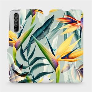 Flipové pouzdro Mobiwear na mobil Realme X3 SuperZoom - MC02S Žluté velké květy a zelené listy