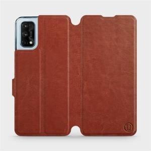 Flipové pouzdro Mobiwear na mobil Realme 7 Pro v provedení C_BRP Brown&Orange s oranžovým vnitřkem