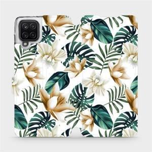 Flipové pouzdro Mobiwear na mobil Samsung Galaxy A12 - MC07P Zlatavé květy a zelené listy