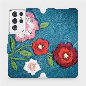 Flipové pouzdro Mobiwear na mobil Samsung Galaxy S21 Ultra 5G - MD05P Džínové květy