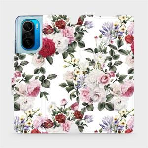 Flipové pouzdro Mobiwear na mobil Xiaomi Mi 11i / Xiaomi Poco F3 - MD01S Růže na bílé