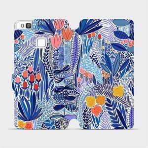 Flip pouzdro Mobiwear na mobil Huawei P9 Lite - MP03P Modrá květena