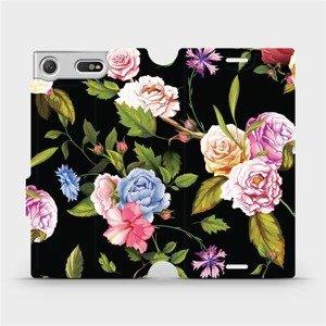 Flipové pouzdro Mobiwear na mobil Sony Xperia XZ1 Compact - VD07S Růže a květy na černém pozadí