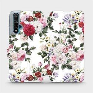 Flipové pouzdro Mobiwear na mobil Huawei Nova 5T - MD01S Růže na bílé