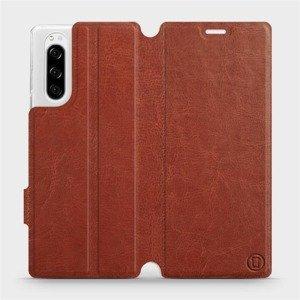 Flipové pouzdro Mobiwear na mobil Sony Xperia 5 v provedení C_BRP Brown&Orange s oranžovým vnitřkem