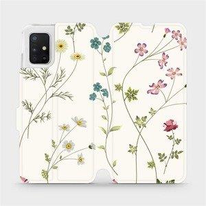 Flipové pouzdro Mobiwear na mobil Samsung Galaxy A51 - MD03S Tenké rostlinky s květy