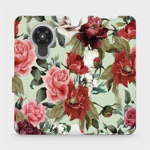 Flipové pouzdro Mobiwear na mobil Nokia 5.3 - MD06P Růže a květy na světle zeleném pozadí