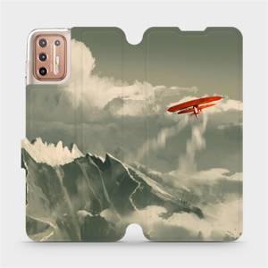 Flipové pouzdro Mobiwear na mobil Motorola Moto G9 Plus - MA03P Oranžové letadlo v horách