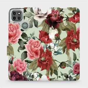 Flipové pouzdro Mobiwear na mobil Motorola Moto G9 Power - MD06P Růže a květy na světle zeleném pozadí