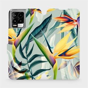 Flip pouzdro Mobiwear na mobil Realme 8 - MC02S Žluté velké květy a zelené listy
