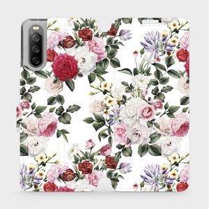 Flip pouzdro Mobiwear na mobil Sony Xperia 10 III - MD01S Růže na bílé