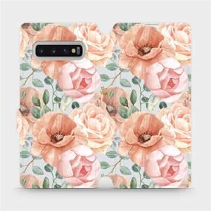 Flip pouzdro Mobiwear na mobil Samsung Galaxy S10 Plus - MP02S Pastelové květy