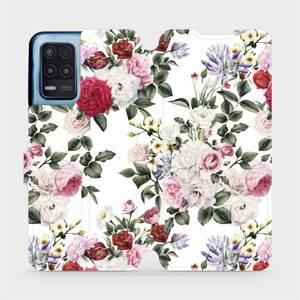 Flip pouzdro Mobiwear na mobil Realme 8 5G - MD01S Růže na bílé