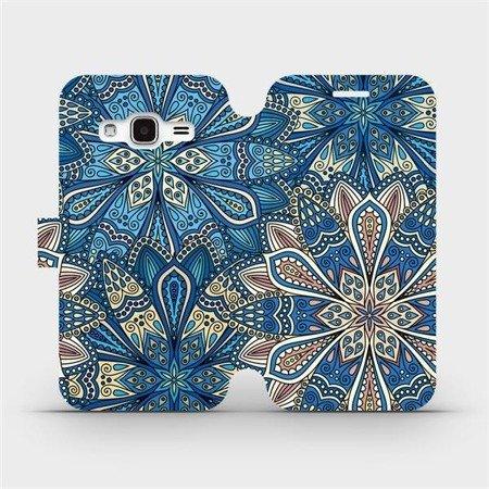 Flipové pouzdro Mobiwear na mobil Samsung Galaxy J3 2016 - V108P Modré mandala květy