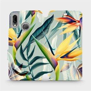Flipové pouzdro Mobiwear na mobil Huawei P20 Lite - MC02S Žluté velké květy a zelené listy