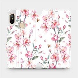 Flipové pouzdro Mobiwear na mobil Xiaomi Mi A2 Lite - M124S Růžové květy