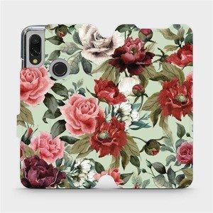 Flipové pouzdro Mobiwear na mobil Xiaomi Redmi 7 - MD06P Růže a květy na světle zeleném pozadí
