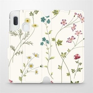 Flipové pouzdro Mobiwear na mobil Samsung Galaxy A20e - MD03S Tenké rostlinky s květy