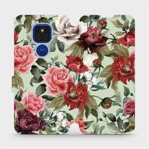 Flipové pouzdro Mobiwear na mobil Motorola Moto E7 Plus - MD06P Růže a květy na světle zeleném pozadí