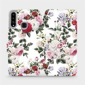 Flipové pouzdro Mobiwear na mobil Samsung Galaxy A20S - MD01S Růže na bílé