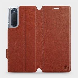 Flipové pouzdro Mobiwear na mobil Sony Xperia 5 II v provedení C_BRP Brown&Orange s oranžovým vnitřkem
