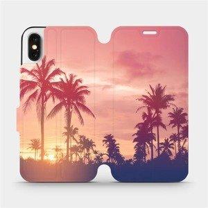 Flipové pouzdro Mobiwear na mobil Apple iPhone X - M134P Palmy a růžová obloha