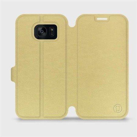 Parádní flip pouzdro Mobiwear na mobil Samsung Galaxy S7 Edge v provedení C_GOS Gold&Gray s šedým vnitřkem