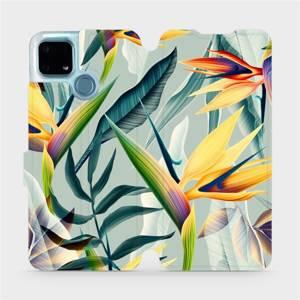 Flip pouzdro Mobiwear na mobil Realme 7i - MC02S Žluté velké květy a zelené listy