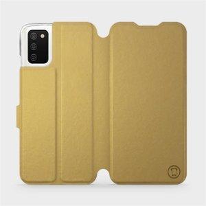 Flipové pouzdro Mobiwear na mobil Samsung Galaxy A02s v provedení C_GOS Gold&Gray s šedým vnitřkem